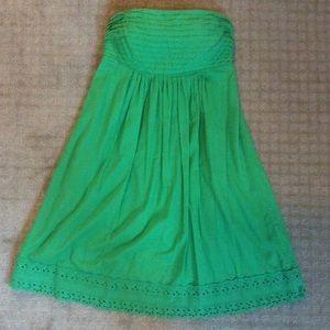 J Crew Green Strapless Dress